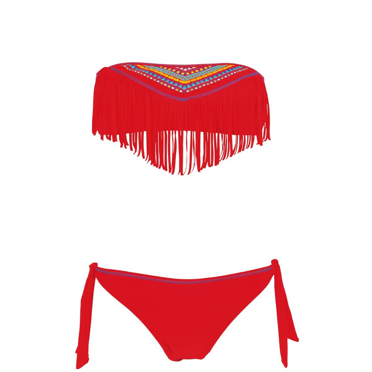 491d53d3fe2cb Bandeau Bikini Set in Rot. maillot-de-bain-pas-cher-à-frange-rouge-