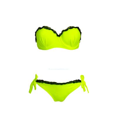 2-teiliger Bikini mit Spitze, Balconette-Oberteil, Neongelb