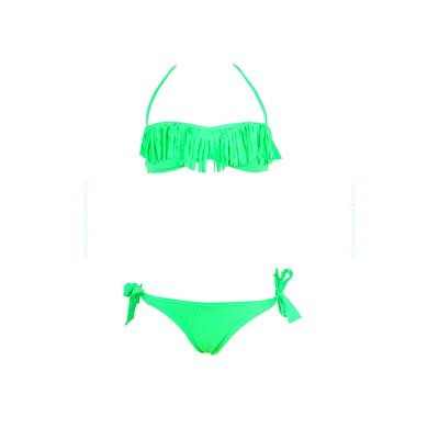 Mädchen-Bikini Bandeau mit Fransen, in Neongrün