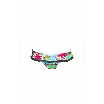 Bikini Hose Mahalo Blumenmotiv Türkisblau