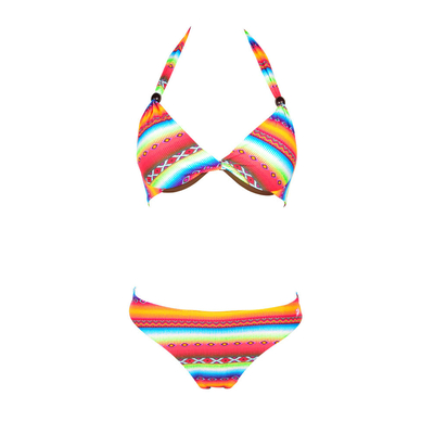 Bikini Set 2teilig, mit Tanga, Ethno-Muster Acapulco Neonfarben