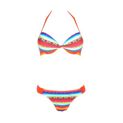 Bikini Set 2teilig mit Push-Up, Ethno-Muster Acapulco Neonfarben