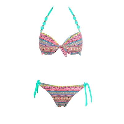 Bikini-Set 2-teilig Ethno-Look mit Zierperlen, in Smaragdgrün
