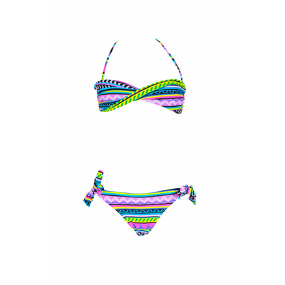 Mädchen Bikini-Set mit Bandeau, buntes Muster