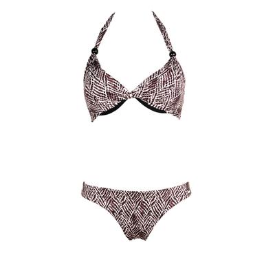 2-teiliger Bikini mit Tanga-Höschen Fauve, Tier-Print in Schwarz