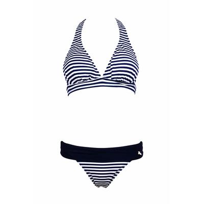 Bikini-Set mit Triangel-Top für Cup C Pong, blau gestreift