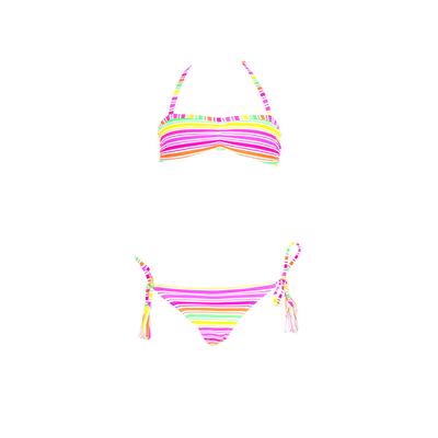 Bandeau-Bikini für Mädchen im Set, Mehrfarbig