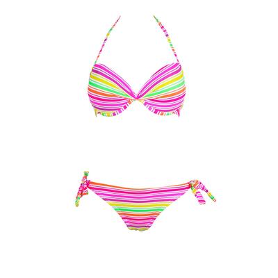 Bikini-Set mit Balconette Push-Up-Oberteil, Bunt