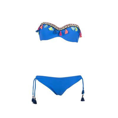 Bikini Set mit Bandeau-Top, in Blau