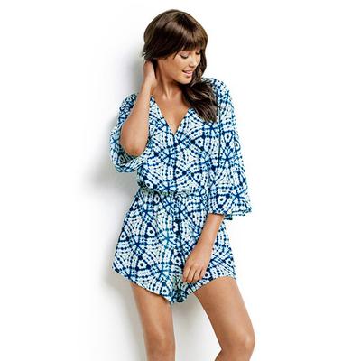 Kurzer Strand- Overall Bahama Blue mit blauem Print