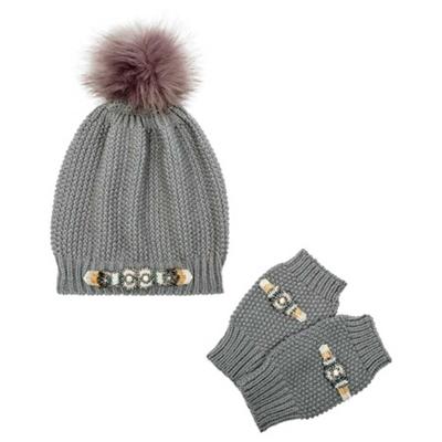 Mütze mit Halb-Handschuhen Felicity in Grau von Amenapih by Hipanema