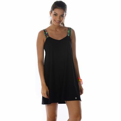 Strandkleid Black, in Schwarz mit bunten Zierbändern