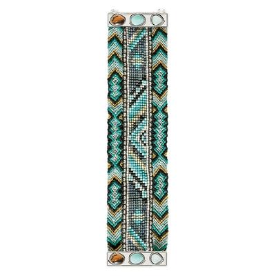 Brasilianisches Armband silberfarben und grün Carmen