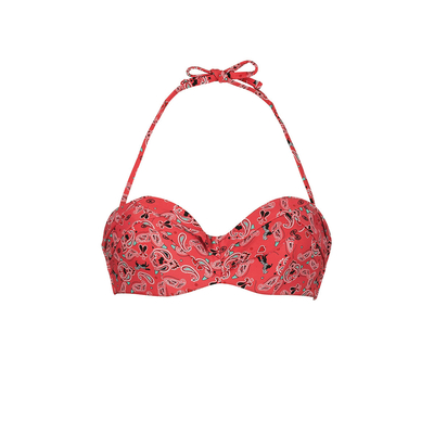 Bandeau-Bikini Paisley, rot (Oberteil)
