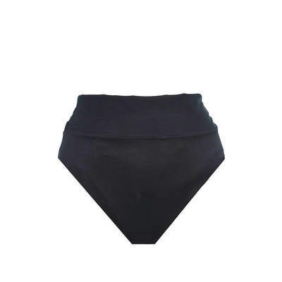 High Waist Bikini Fold Over Brief, schwarz (Hose)