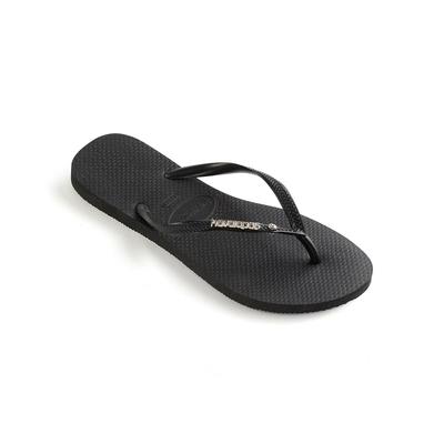 Flip-Flops Slim Metal Swarovski, schwarz
