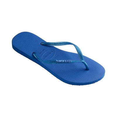 Flip-Flops Slim Logo Metallic, blau