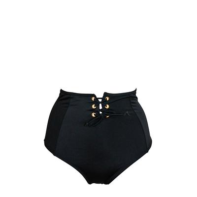 High Waist Bikini Lace Up, schwarz (Hose)