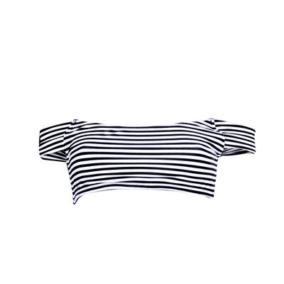 Bandeau Bikini schwarz-weiß gestreift (Oberteil)