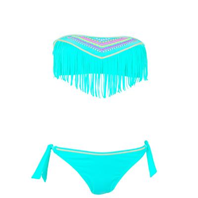 Bandeau Bikini Set in Smaragd-Blau