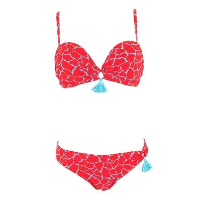 Bikini-Set, Bandeau rot