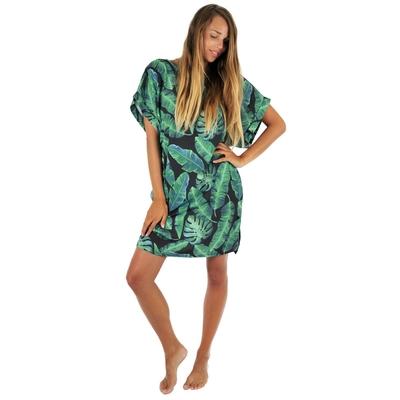 weites Kleid mit Palmenmotiven in schwarz