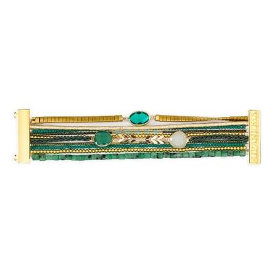 Brasilianisches Armband Narcisse, grün und goldfarben
