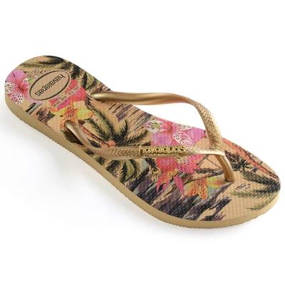Flip-Flops Slim Tropical, goldfarben gemustert