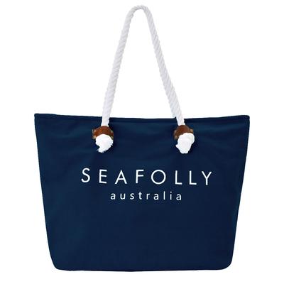 Strandtasche, in marine blau