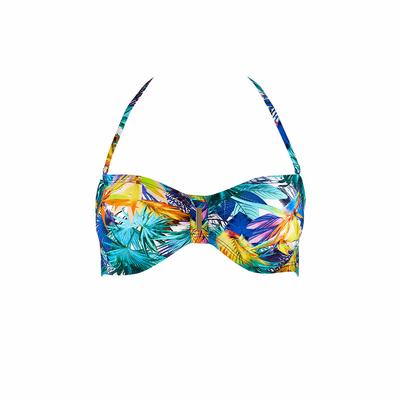 Bandeau-Bikini Fleur Tropicale, in blau (Oberteil)