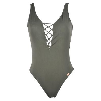Badeanzug Couture Millenium, in khaki grün mit Schnürung