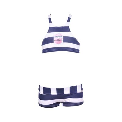 Bikini-Set Team für Mädchen, blauweiß gestreift
