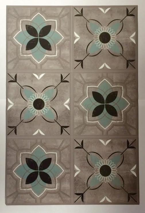 6 stickers carreau de ciment - embellissement des murs/stickers