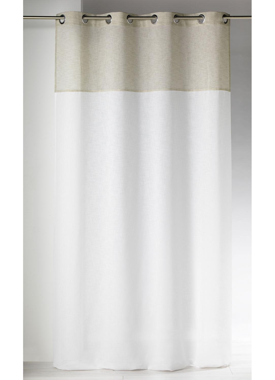 voilage etamine beige blanc 140x240 rideaux coussins. Black Bedroom Furniture Sets. Home Design Ideas