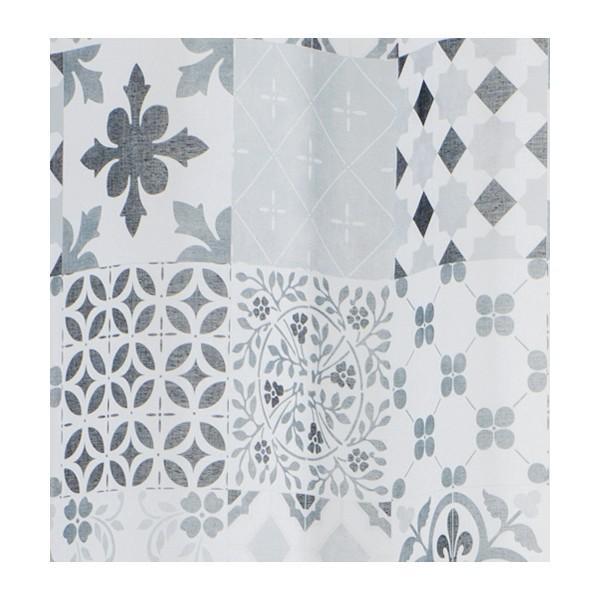 Voilage etamine imprim carreaux de ciment 140x240 rideaux coussins plaids voilages au - Rideau carreau de ciment ...