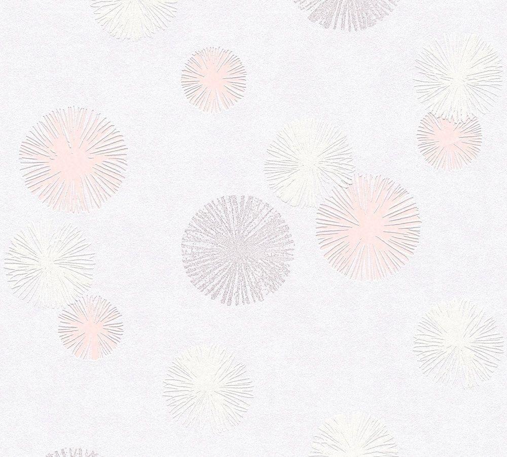 Tapisserie A Motif Rose : Papier peint intissé snowflakes gris rose papiers peints