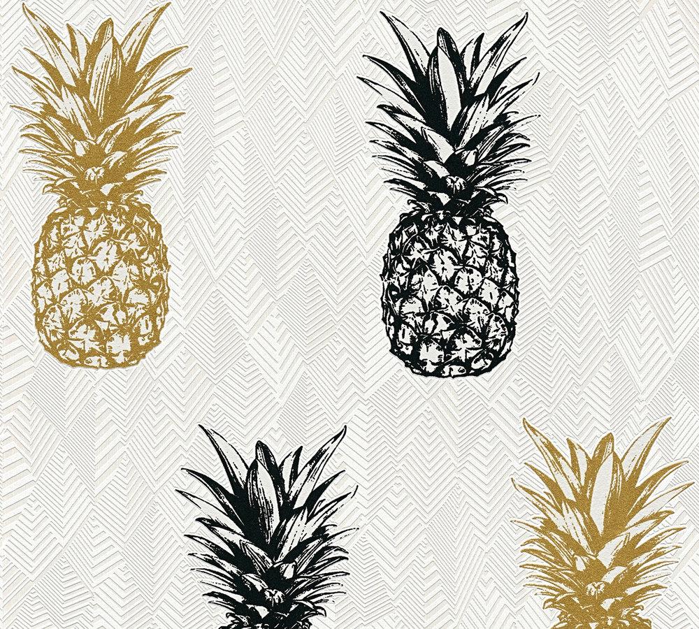 Papier peint intissé ananas noir/or   Papiers peints/Papier peints