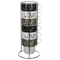Mugs HAPPY LOVE sur support x6