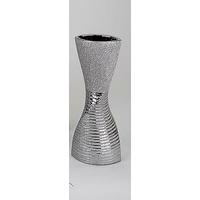 Vase argenté torsadé 54cm