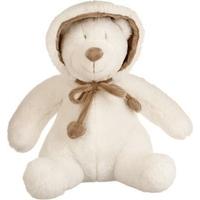 Peluche ourson capuche assis blanc et marron H30cm