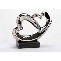 Décoration coeurs argentés socle noir H25cm