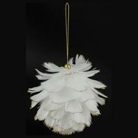 Boule plumes blanches avec bouts pailletés or