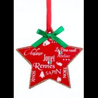Suspension bois étoiles imprimées Noël