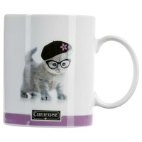Mug photo chat CURIEUSE violet 35CL