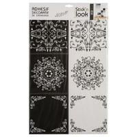 Stickers carrelage arabesques x6 noir/blanc 15x15cm