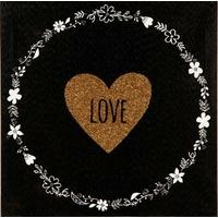 Toile imprimée LOVE couronne fleurie 28x28cm
