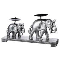 Bougeoir 2 éléphants argentés H17cm