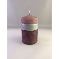 Bougie LILA ronde rose/argent 7x11cm