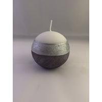 Bougie LOLA boule blanc/argent D8cm