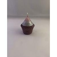 Bougie LILA mini ronde rose/argent H5cm